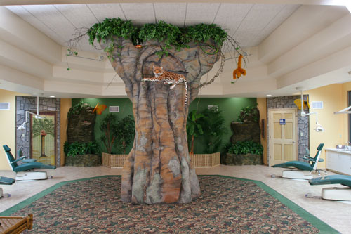 Tree and animals in waiting room.